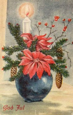 LILLO STENBERG Norwegian Christmas, Vintage Christmas Cards, Poinsettia, Cottage, Painting, Cottages, Painting Art, Paintings, Cabin