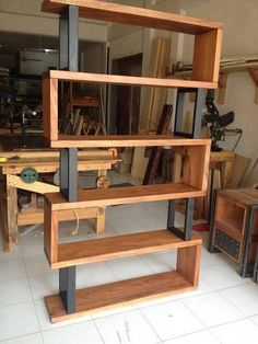 Hardwood and metal bookcase Unique wood & iron # . Hardwood and metal bookcase Unique wood & iron Easy Woodworking Projects, Diy Wood Projects, Woodworking Tools, Woodworking Machinery, Popular Woodworking, Unique Woodworking, Youtube Woodworking, Woodworking Magazine, Beginner Wood Projects