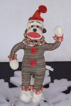 Plush Mini 6 in Poseable Sock Monkey Clown Stuffed Animal Toy Bendy Arms Legs