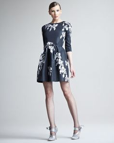Bijoux Printed Silk Dress by Oscar de la Renta at Bergdorf Goodman.