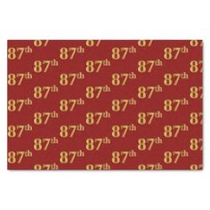Red Faux Gold 87th (Eighty-Seventh) Event Tissue Paper - anniversary gifts diy cyo party