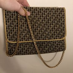 e7a98486f Monogram vintage Christian Dior bag handbag clutch in gold - Depop  Christian Dior Bags, Leather