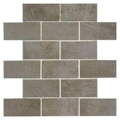 MARAZZI Studio Life Times Square 12 in. x 12 in. x 6 mm Ceramic Brick Joint Mosaic Tile-SL0624BWHD1P2 - The Home Depot