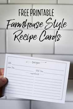 Free Printable Farmhouse Recipe Cards - Our Handcrafted Life Free Printable Vintage Farmhouse Recipe Cards are the perfect way to record recipes for future generations to love. Family dinners are where memories are made. Record your favorite family recipes as keepsakes and pass down recipes to your kids and grandkids. They will love having a piece of your kitchen with the beautifully designed recipe cards that are vintage inspired, classic, and understated.