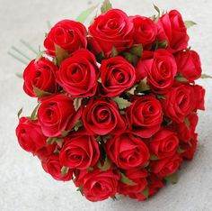 SILK RED ROSE ROSES POSY FLOWER POSY WEDDING BOUQUET ARTIFICIAL FAKE FLOWERS