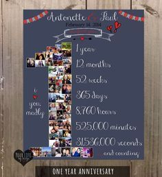 DAY Photo Collage Anniversary Gift For Husband Wife One Year Wedding By YourLifeMyDesign On Etsy Valentines Ideas Her