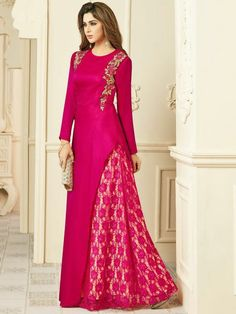 Party Wear Rani Readymade Kurti is a lovely combination of Embroidered Silk Kameez and Georgette Net Fabric Batik Dress, Saree Dress, Indian Dresses, Indian Outfits, Muslim Dress, Indian Ethnic Wear, Indian Designer Wear, Dress Patterns, Party Wear
