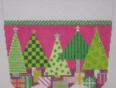 Stocking Cuff - Oh Christmas Tree - Pink |The Needlepointer