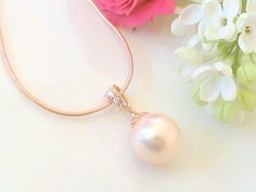 Bridesmaid Gift Rose Gold Necklace Pearl Wedding by Crystalshadow, $20.00