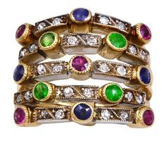 Antique Colored gemstone & diamond ring