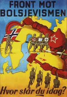 Waffen SS Recruitment Poster Photo Norway Finland - United Against Bolshevism !