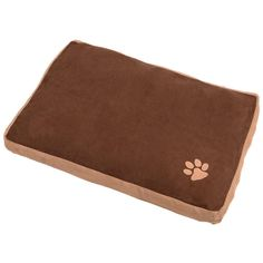 Small rectangular pet bed with embroidered paw detail. Measures 60cm x 40cm x 10cm approx.