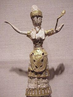 Minoan Snake Goddess or Priestess Ivory and Gold 1750 to 1580 BCE