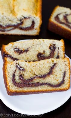 Easy Nutella Swirl Pound Cake made with butter, eggs, and a lot of Nutella!