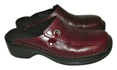 Clarks Women's Leather Red Burgundy Mules