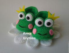 """Купить Пинетки """"Лягушата"""" - комбинированный, вязание на заказ, вязание для детей, вязаная игрушка, пинетки вязаные"""