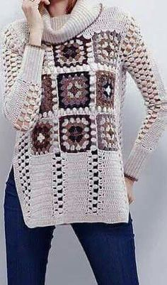 (notitle) You are in the right place about knitting stitches Here we offer you the most beautiful pictures about the knitting pillow you are looking. Crochet Pouf, Crochet Jacket, Knitted Poncho, Crochet Cardigan, Crochet Granny, Crochet Dress Outfits, Crochet Clothes, Crochet Winter, Knit Fashion