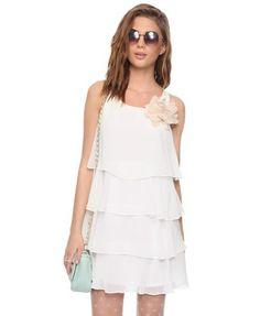 $19.80 Tiered Chiffon Shift Dress | FOREVER21 - 2000039754