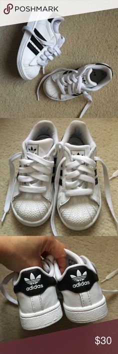 Toddler Boys Adidas Shelltoe Superstar Shoes Gently Worn in very good condition! Size 9. Retail $60. Pet and smoke free home! Adidas Shoes Sneakers