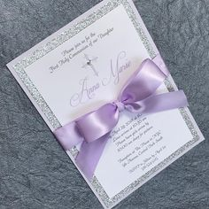 Girl Communion Invitation Girl Baptism Invitation Girl Christening Invitation Lavender and Silver