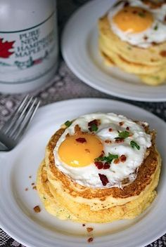Jalapeno Corncakes with Maple Syrup and Sunny Side-Up Eggs