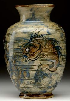 Martin Brothers Pottery - Sea Life Vase. Incised, Painted & Glazed Stoneware. Southall, Middlesex, England. Circa 1891.