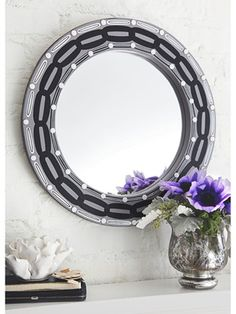 Vinyl mailbox numbers and chain-link mirror frame DIY