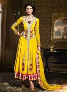 Adorable Yellow Resham Work Anarkali Suit, Product Code : 2823, Shop Now : http://www.sareesaga.com/adorable-yellow-resham-work-anarkali-suit-2823  Email :support@sareesaga.com, What's App or Call : +91-9825192886
