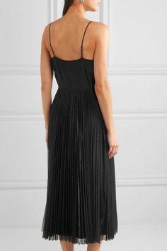Victoria, Victoria Beckham | Silk-satin and pleated tulle dress | NET-A-PORTER.COM