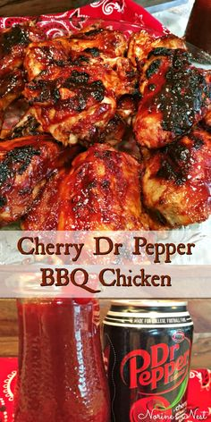 Pepper Grilled Chicken Tender juicy chicken grilled to perfect and slathered in a special homemade Cherry Dr Pepper BBQ sauce.Tender juicy chicken grilled to perfect and slathered in a special homemade Cherry Dr Pepper BBQ sauce. Yummy Recipes, Meat Recipes, Cooking Recipes, Yummy Food, Healthy Recipes, Thai Cooking, Cooking Tips, Smoker Grill Recipes, Grill Meals