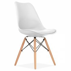 Eames Inspired White Dining Chair with DSW Style Wood Legs | Cult UK