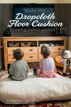 flooring cushions Dropcloth Floor Cushion (Using Fabric Scraps) Farmhouse Side Table, Farmhouse Kitchen Decor, Master Bedroom Interior, Cute Dorm Rooms, Floor Cushions, Floor Pouf, Outdoor Cushions, Fabric Scraps, Decoration