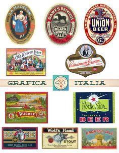Vintage BEER LABELS Clipart - Biere Ale Brewing Clip Art  Digital Downloads by graficaitalia