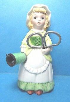 Vintage Dutch Girl  Porcelain Sewing Pin Cushion Doll Figurine
