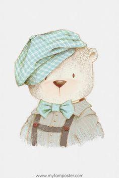 Bear Watercolor, Watercolor Animals, Cute Little Drawings, Cute Drawings, Baby Illustration, Illustrations, Scandinavian Nursery Decor, Nursery Wall Art, Girl Nursery