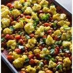 Roasted Cauliflower, Tomatoes, Chickpeas w/ Indian Spices (update: added shredded carrots to the mix, so good!)