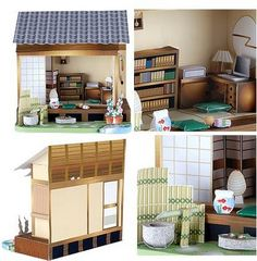 The Japanese style dollhouse is the latest addition to Sanwa supply's growing papercraft collection. There's now a total of 15 beautiful do. Vitrine Miniature, Barbie, Paper Houses, Paper Models, Miniture Things, Lilo And Stitch, Diy And Crafts, Pokemon, Printables