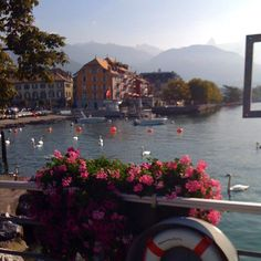 Looking at the Swiss Alps from the Port of Vevey (Lac Léman) in Switzerland