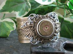 Shotgun Casing Jewelry - Bullet Casing Jewelry - Winchester 12 Gauge Shotgun Shell Steampunk Inspired Mixed Metal Cuff Bracelet