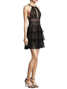 BCBGMAXAZRIA - Lace and Tulle Mini Dress