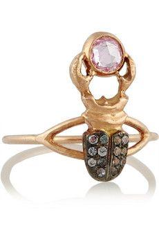 Daniela Villegas Khepri 18-karat rose gold, garnet and sapphire phalanx ring   NET-A-PORTER