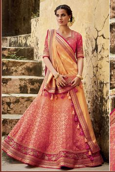 Online shopping for indian wedding and bridal lehenga choli in latest designs. Buy this snazzy jacquard silk lehenga choli for sangeet and wedding. Lehenga Choli Online, Bridal Lehenga Choli, Indian Lehenga, Silk Lehenga, Ghagra Choli, Anarkali Frock, Indian Bollywood, Indian Wedding Outfits, Indian Outfits