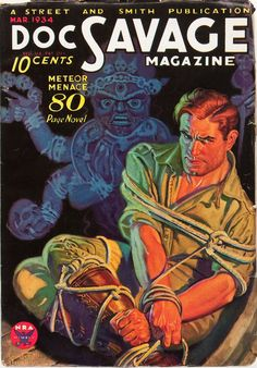 WALTER MARTIN BAUMHOFER - art for Meteor Menace - March 1934 Doc Savage Magazine