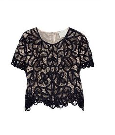 phillip lim hairpin lace midnight blue crop top