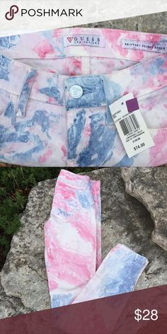 🆕 Guess Brittney Skinny Ankle Jeans Tie dye Pink 🌟 CLOSET CLEAR OUT 🌟  🆕 GUESS? Brittney Skinny Ankle Jeans Tie Dye   Super soft and comfortable.   🔹Stretch jeans  🔹Size - 24   Check out my store www.trumpetjewels.com all NEW sale items and use promo code FREESHIP! Guess Jeans