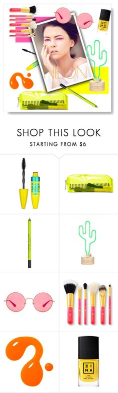 """""""Neon"""" by victoire-marjolaine ❤ liked on Polyvore featuring beauty, Maybelline, Forever 21, Urban Decay, Ray-Ban and 3ina"""