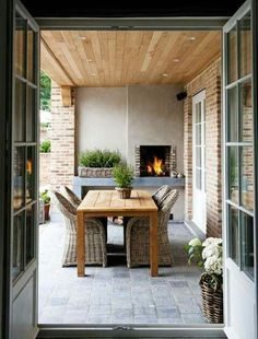 Rustic Spring Porch Decor Ideas to Help you Get Your Outdoor Space Ready for Spring - The Trending House Outdoor Decor, House, Home, Outdoor Space, Outdoor Kitchen Design, Outdoor Rooms, Modern Outdoor Kitchen, House Exterior, Outdoor Dining