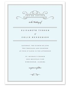 Fine Stationery.com // Personalized Stationery, Wedding Invitations, 111491 Delicate Scrolls Invitation