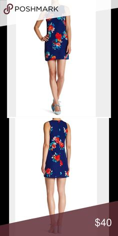 Love...Ady Floral Print Shift Dress A sleeveless printed shift mini features double keyholes for killer Spring style. Crew neck, sleeveless, front and back keyhole, allover print. Made in USA. 100% polyester. Dry clean. Multicolored. Love...Ady Dresses Mini
