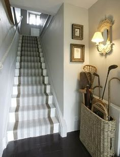 Striped Stair Runner - for basement stairs? Entrance Foyer, Entry Hallway, Cottage Hallway, Entry Stairs, Stair Makeover, Basement Stairs, Basement Ideas, Basement Plans, Basement Renovations